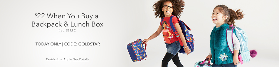 $22 When You Buy a Backpack & Lunch Box - reg. $39.90 - Today Only - CODE: GOLDSTAR - Restrictions Apply. See Details