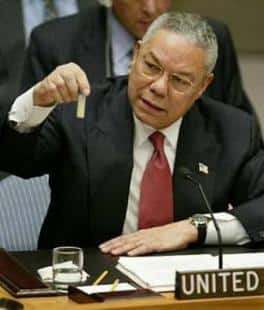 COLIN POWELL MOSTRA ALL'ONU LE (FINTE) ARMI CHIMICHE DI SADDAM