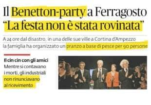 crollo del ponte di genova il party dei benetton