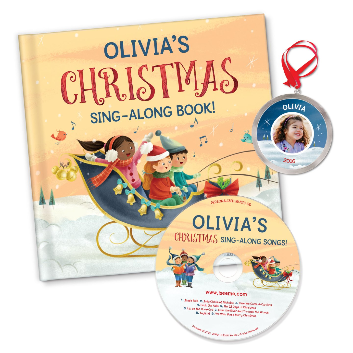 My Christmas Sing-A-Long Book & Songs With Personalised Ornament | Personalised Christmas Gift For Kids