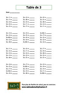 fiches de table de 3