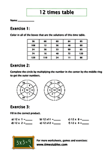 12 times table with games at