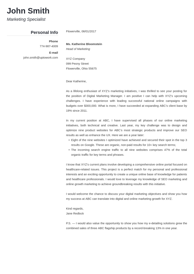 Discreetly Modern Cover Letter