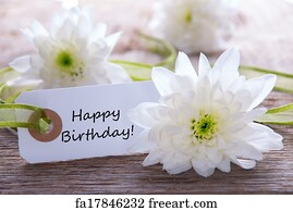 Free Art Print Of Label With Happy Birthday Label With Happy Birthday On Wooden Turquiose Background With White Flowers Freeart Fa18620458