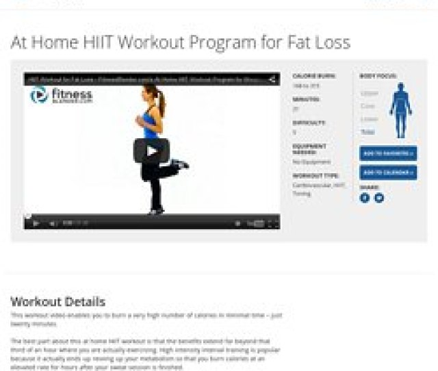 At Home Hiit Workout Program For Fat Loss Fitness Blender