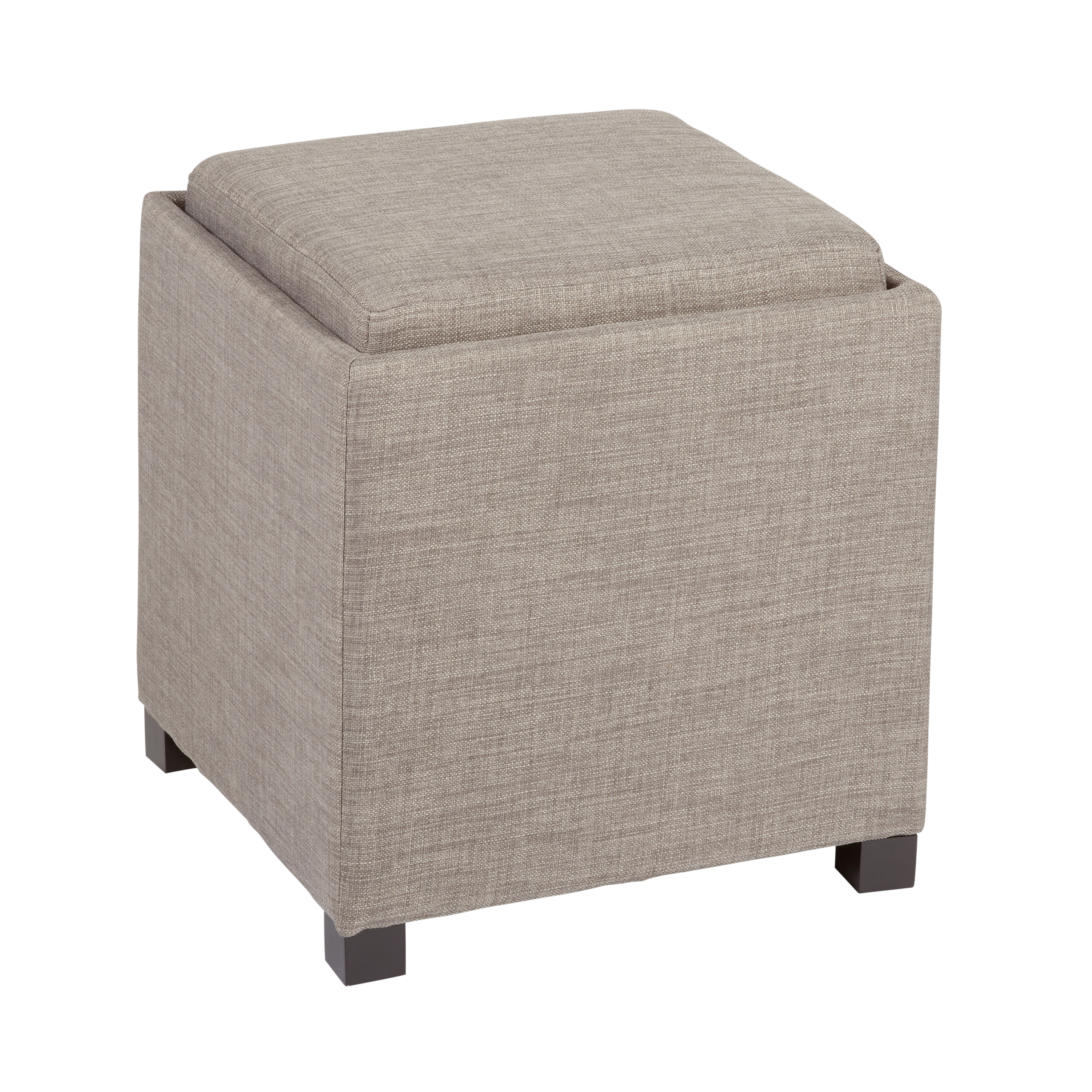 solid upholstery tray top cube storage ottoman