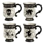 Black White Halloween Icons Ceramic Mugs Set Of 4 Christmas Tree Shops And That Home Decor Furniture Gifts Store