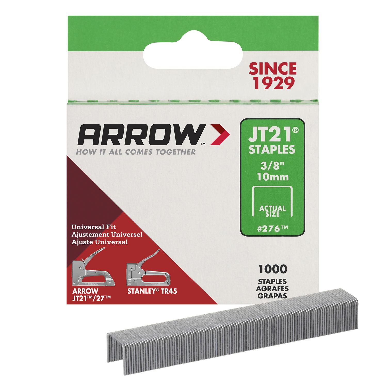 arrow fastener jt21 7 16 in w x 3 8 in l 23 ga wide crown light duty staples 1000 pk