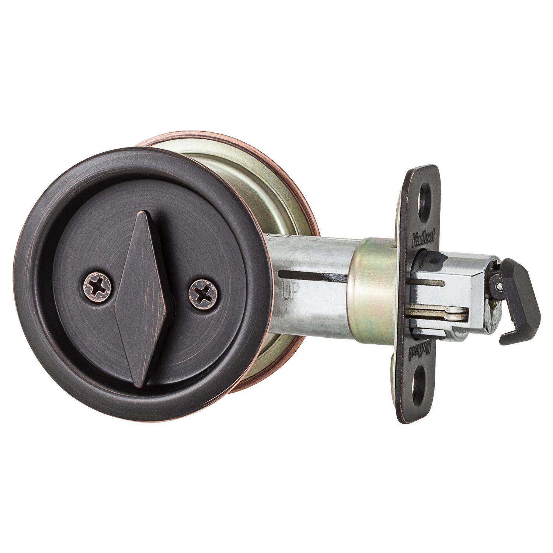 kwikset venetian bronze metal indoor round bed bath pocket door lock