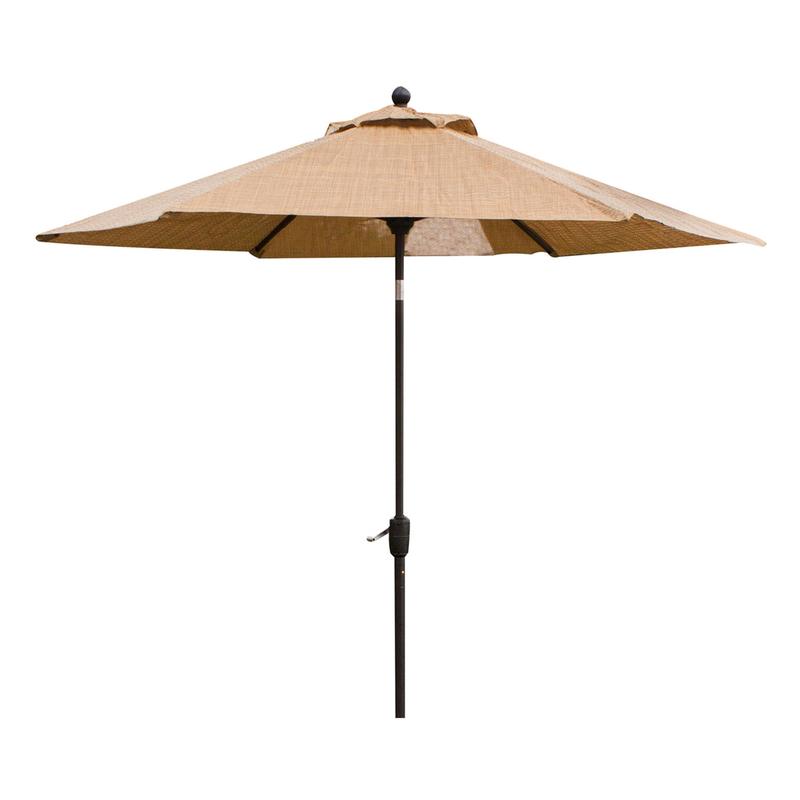 hanover monaco 9 ft tiltable tan patio umbrella