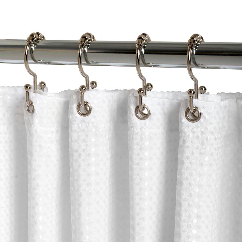 zenna home chrome silver metal shower curtain rings 12 pk