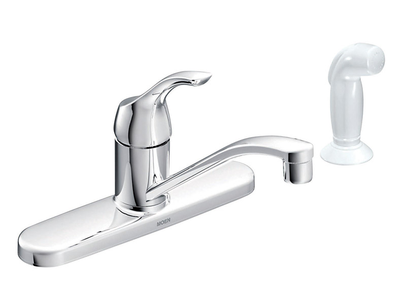 moen adler one handle chrome kitchen faucet side sprayer included ace hardware