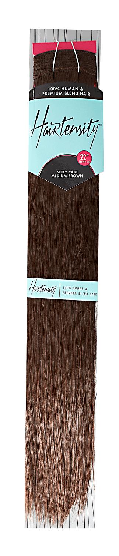 Medium Brown 22 Inch Human & Premium Blend Hair