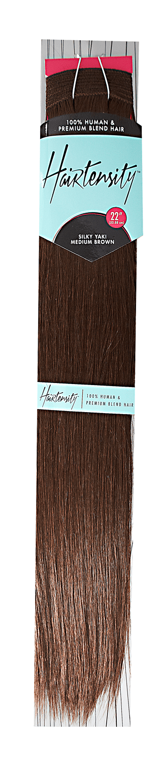 Medium Brown 22 Inch Human & Premium Blend Hair