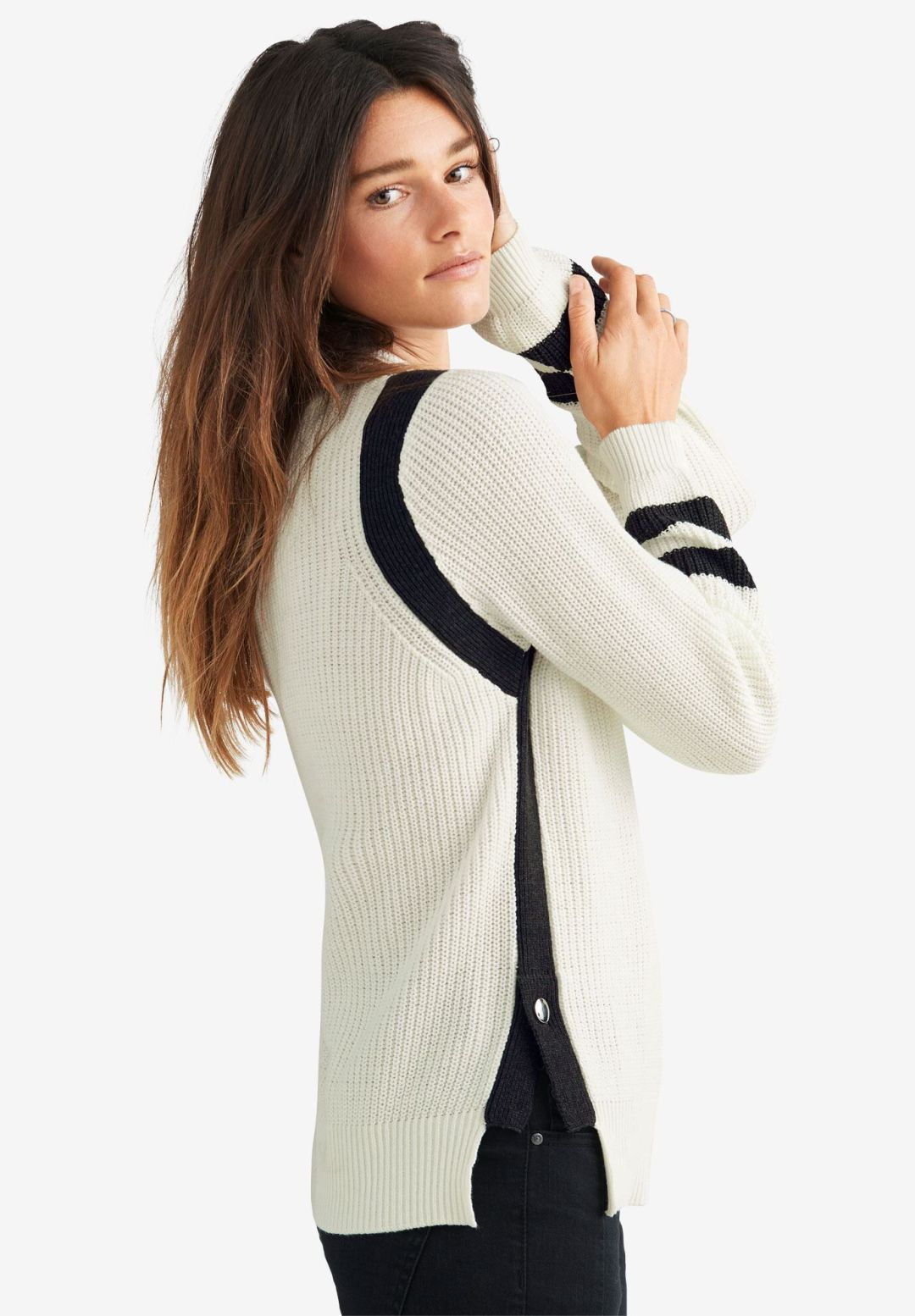 Side Stripe Mockneck Sweater by ellos®, , on-hover