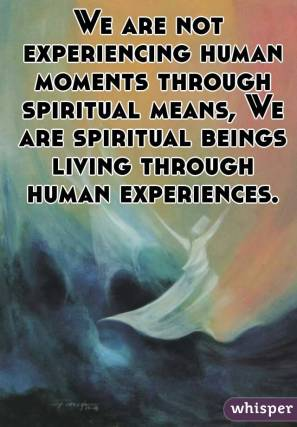 We are not experiencing human moments through spiritual means, We are spiritual beings living through human experiences.</p><br /><br /><br /><br /><br /><br /><br /> <p>