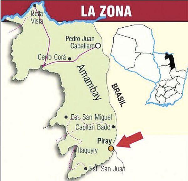 El mapa indica el lugar exacto donde se realizó el operativo en el que encontraron un megalaboratorio.FOTO:GENTILEZA POLICÍA NACIONAL
