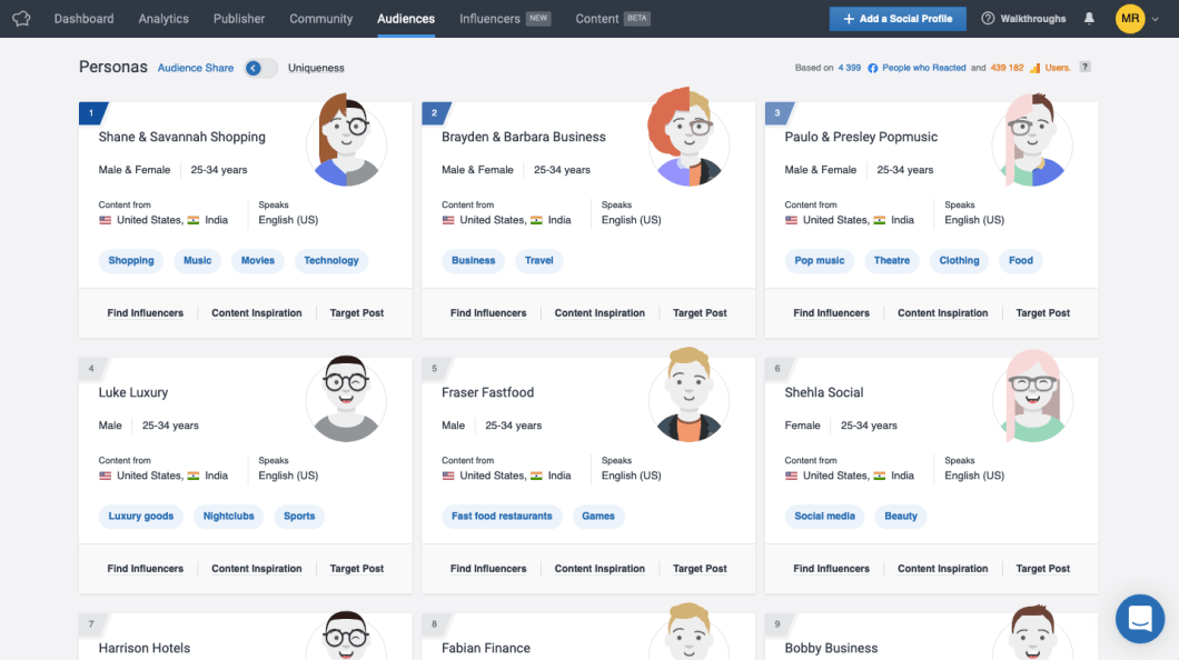 SocialBakers Interface