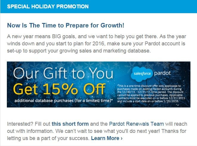 pardot holiday email discount