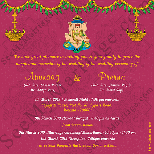 Pink Theme Ganesha Style With Fl Decorated Traditional South Indian Hindu Wedding Invitation Card Green Cover Page