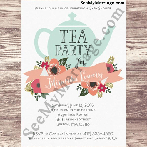 Party Theme Baby Shower Invitation Card