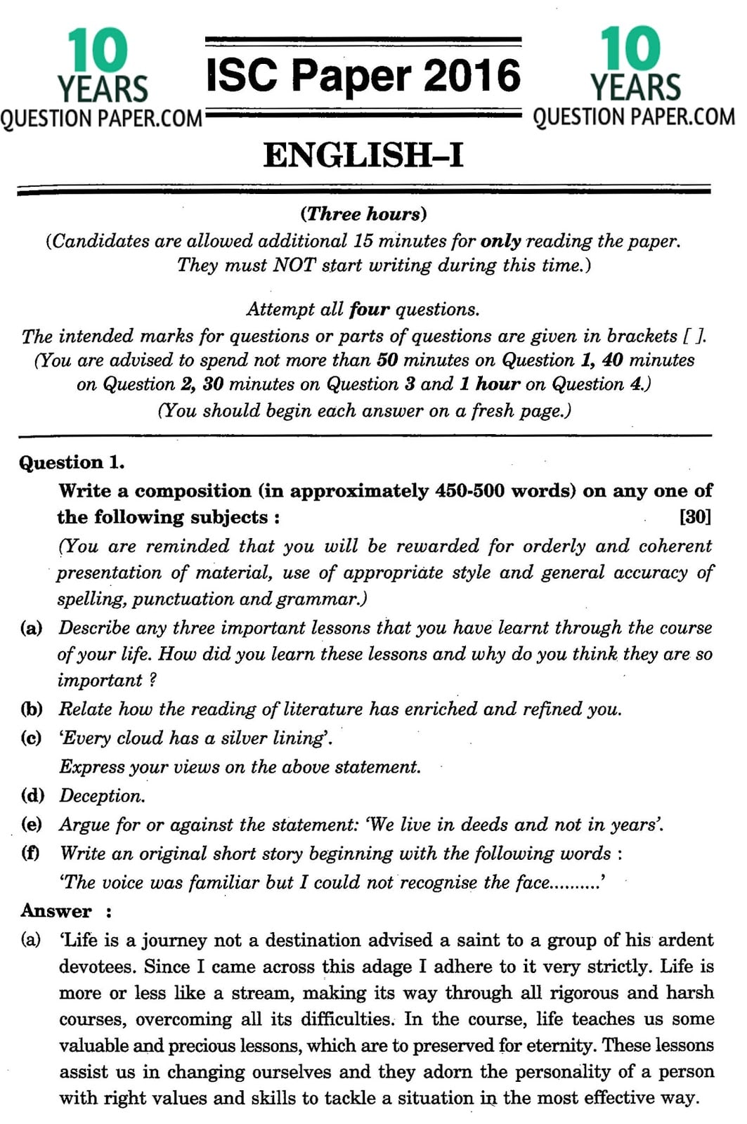 Isc English Language Solved Paper For Class 12