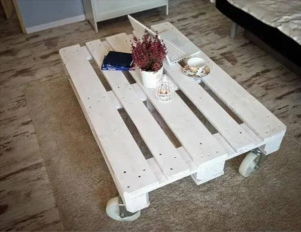 diy weathered white pallet coffee table – 101 pallets