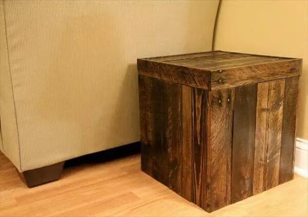 diy pallet storage cube ottoman 101