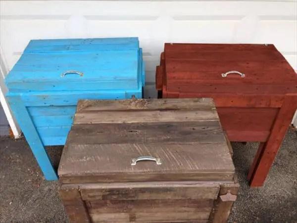 diy pallet outdoor cooler ice chests