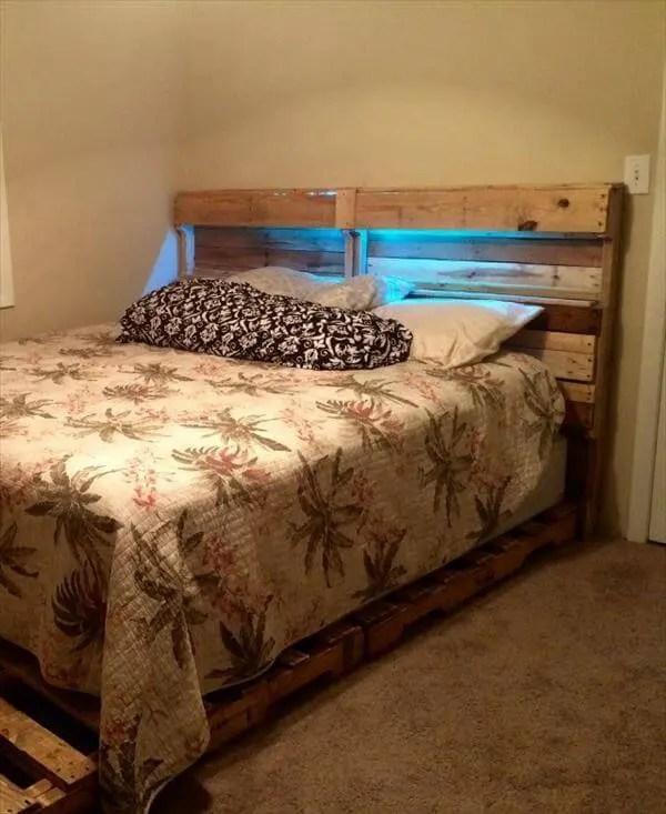 Diy Pallet Bed Frame And Headboard 101 Pallets