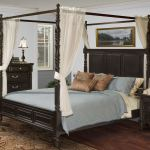 Martinique Rubbed Black Queen Canopy Bed With Drapes 1stopbedrooms