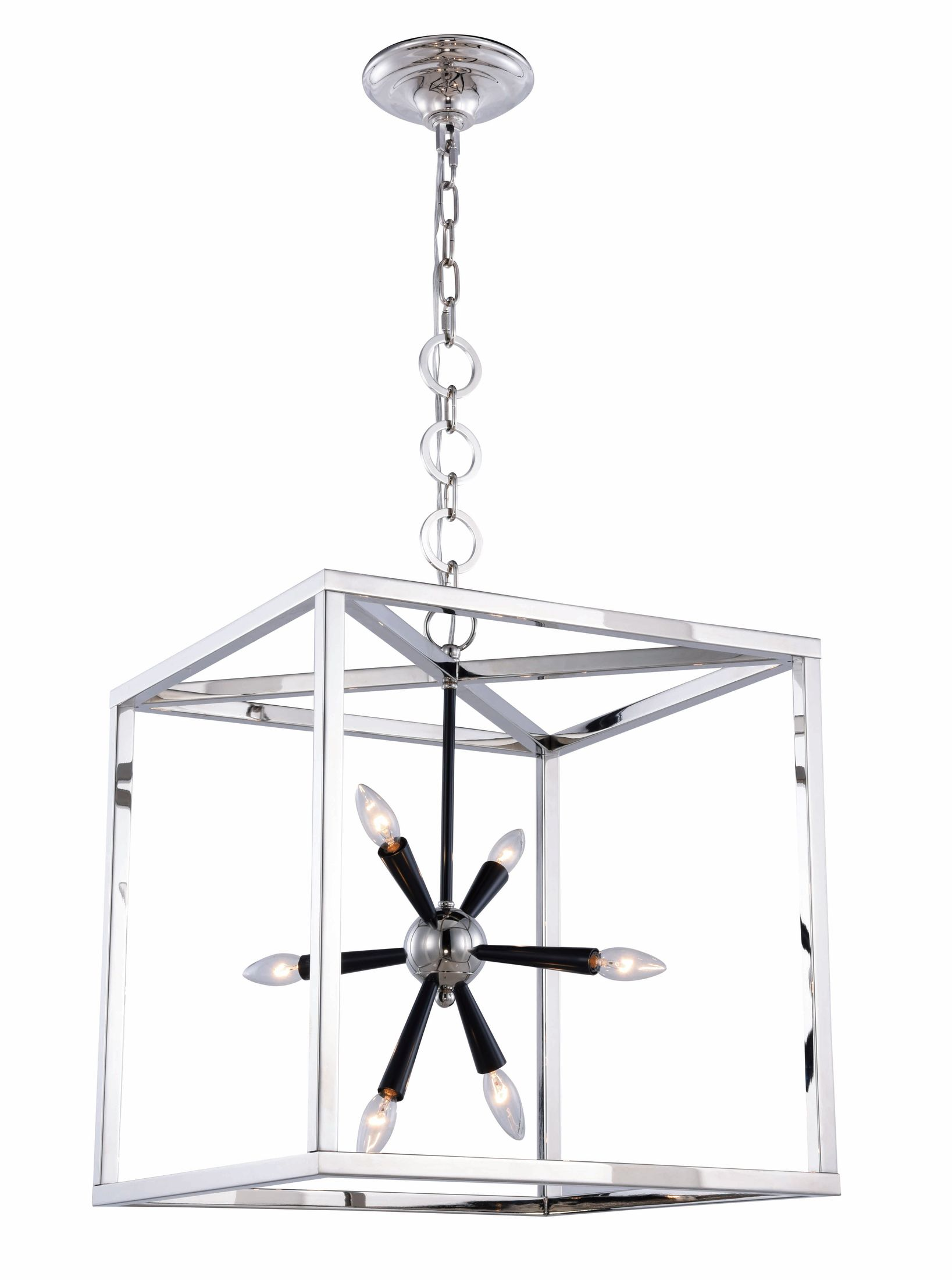 Lexy 20 Polished Nickel And Flat Black 6 Light Pendant