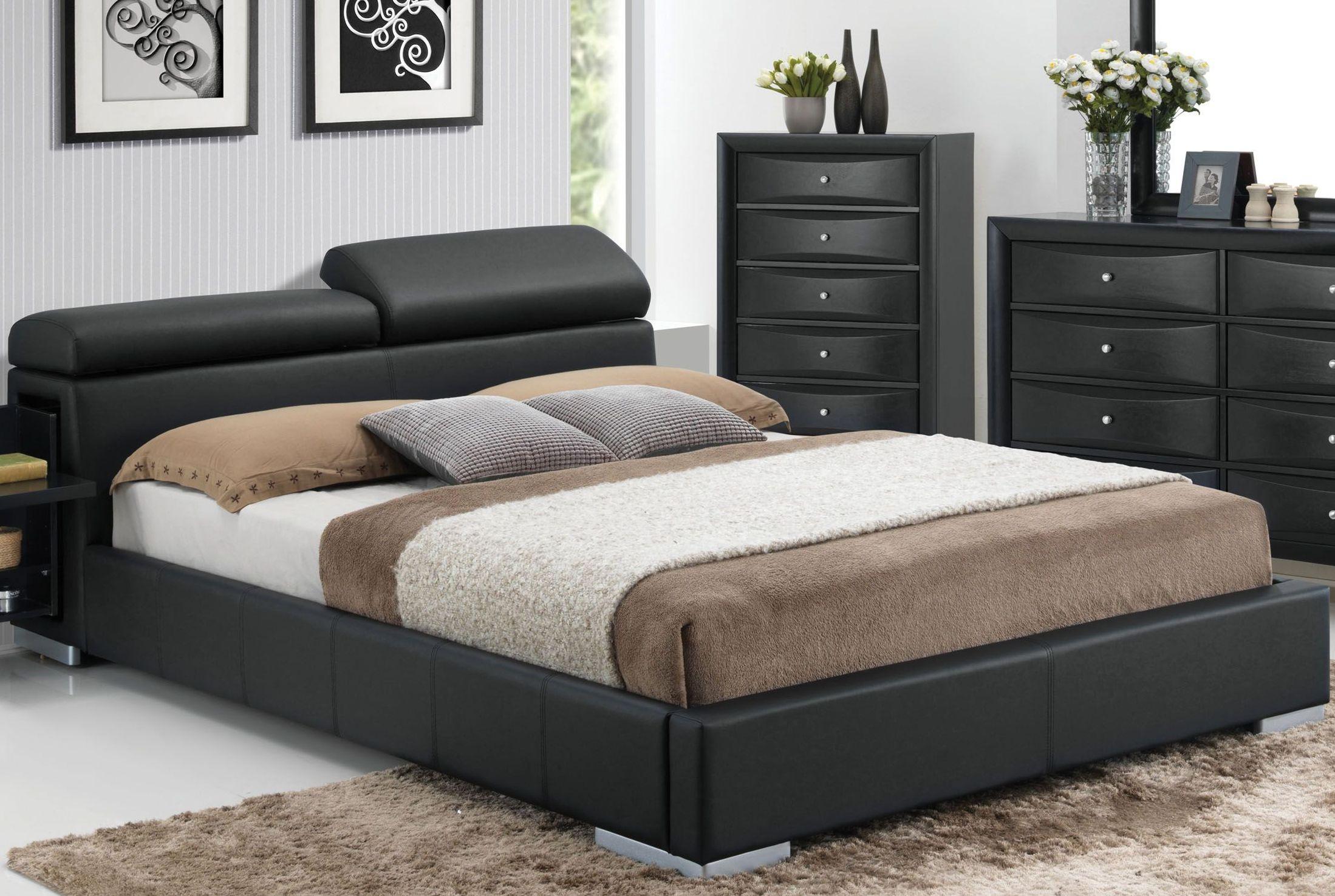 Manjot Black King Hidden Storage Platform Bed