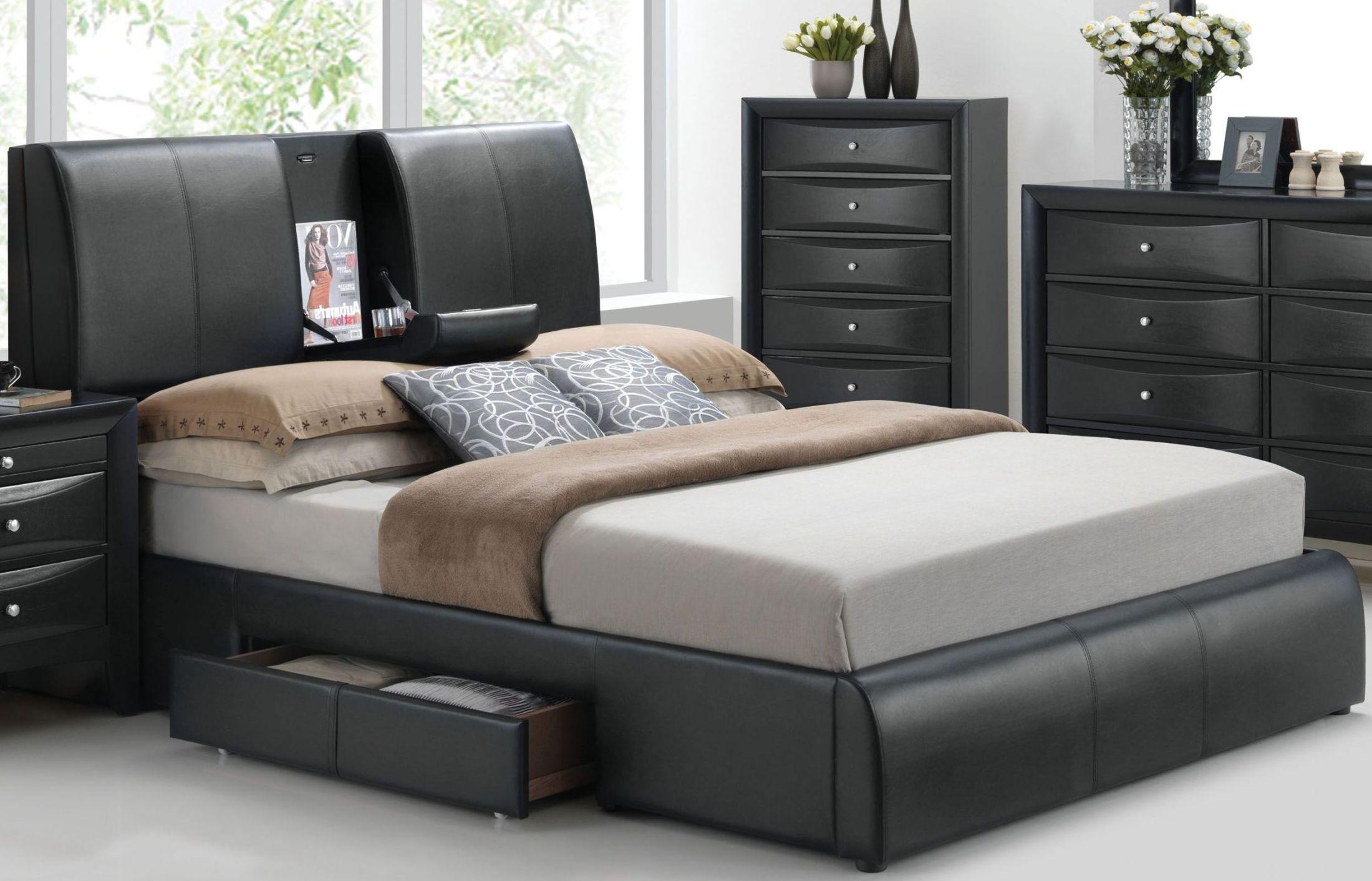 Acme Kofi Black King Upholstered Platform Storage Bed