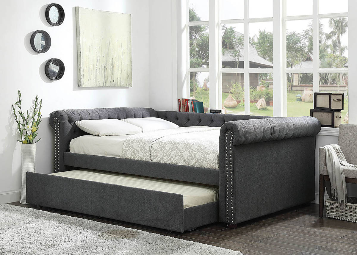 Furniture Of America Leanna Gray Queen Trundle Daybed