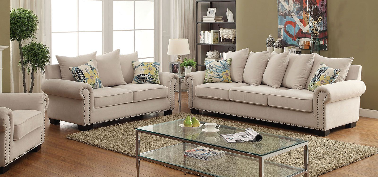 Furniture Of America Skyler Ivory Living Room Set