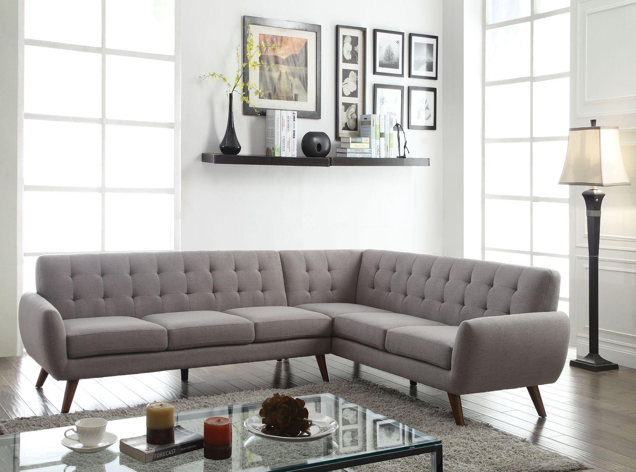 essick light gray linen sectional sofa