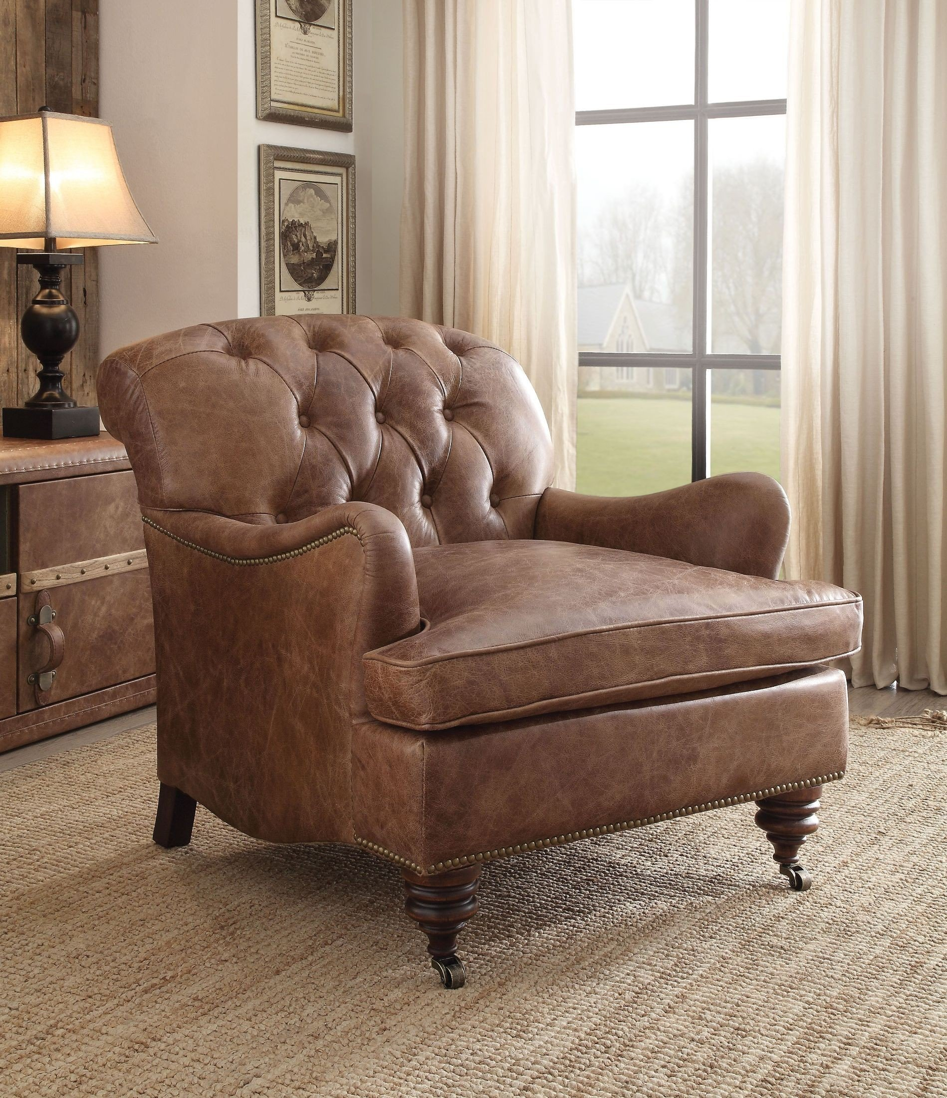 Durham Retro Brown Leather Tufted Accent Chair