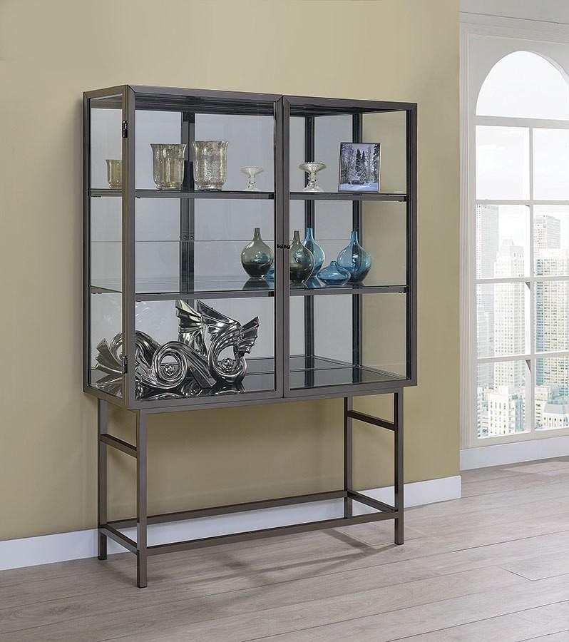 black nickel curio cabinet w led lighting