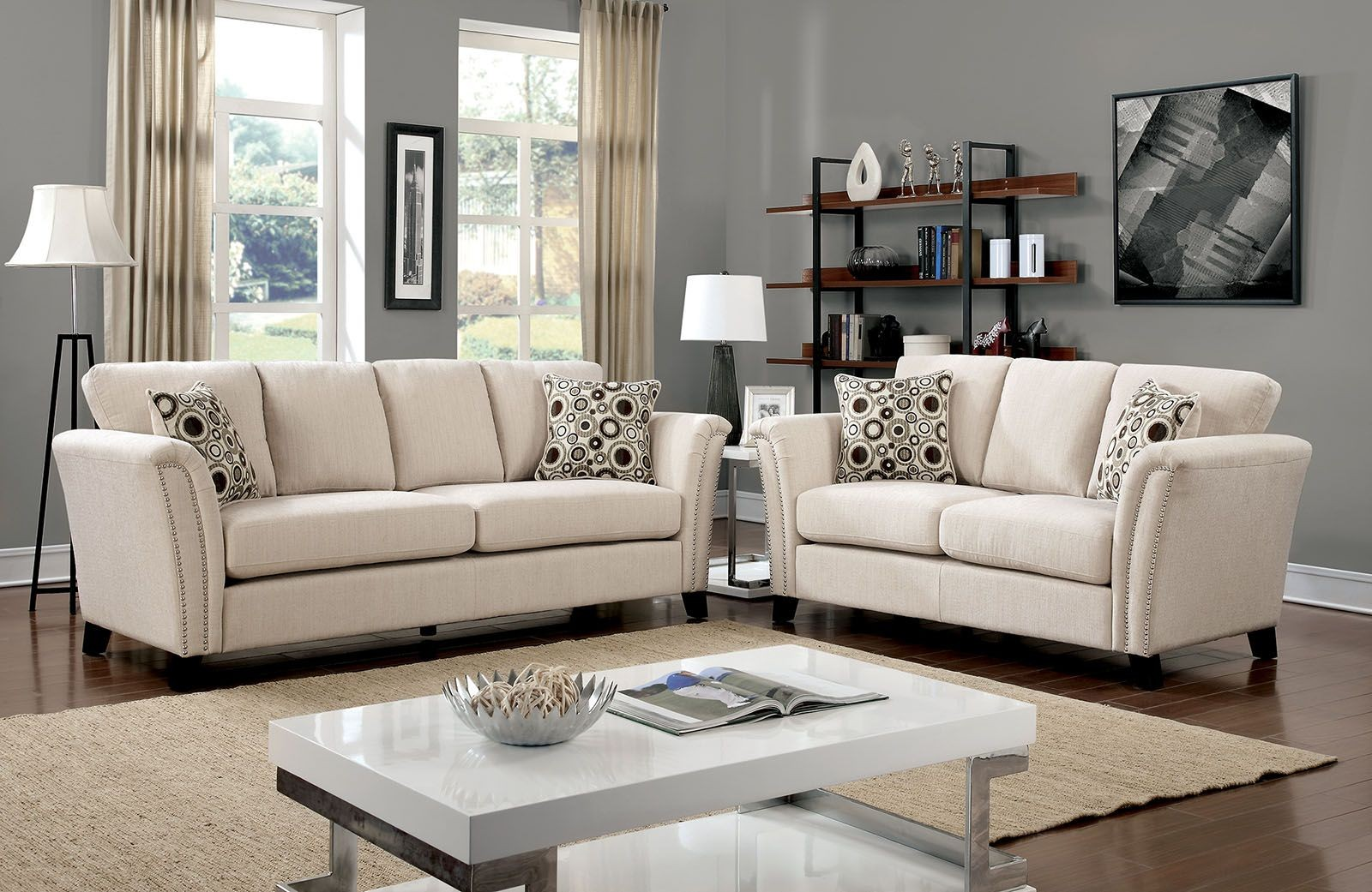 Furniture Of America Campbell Ivory Living Room Set