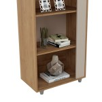 Cypress Mid Century Modern Bookcase With 5 Shelves Set Of 2 In Nature And Off White 1stopbedrooms