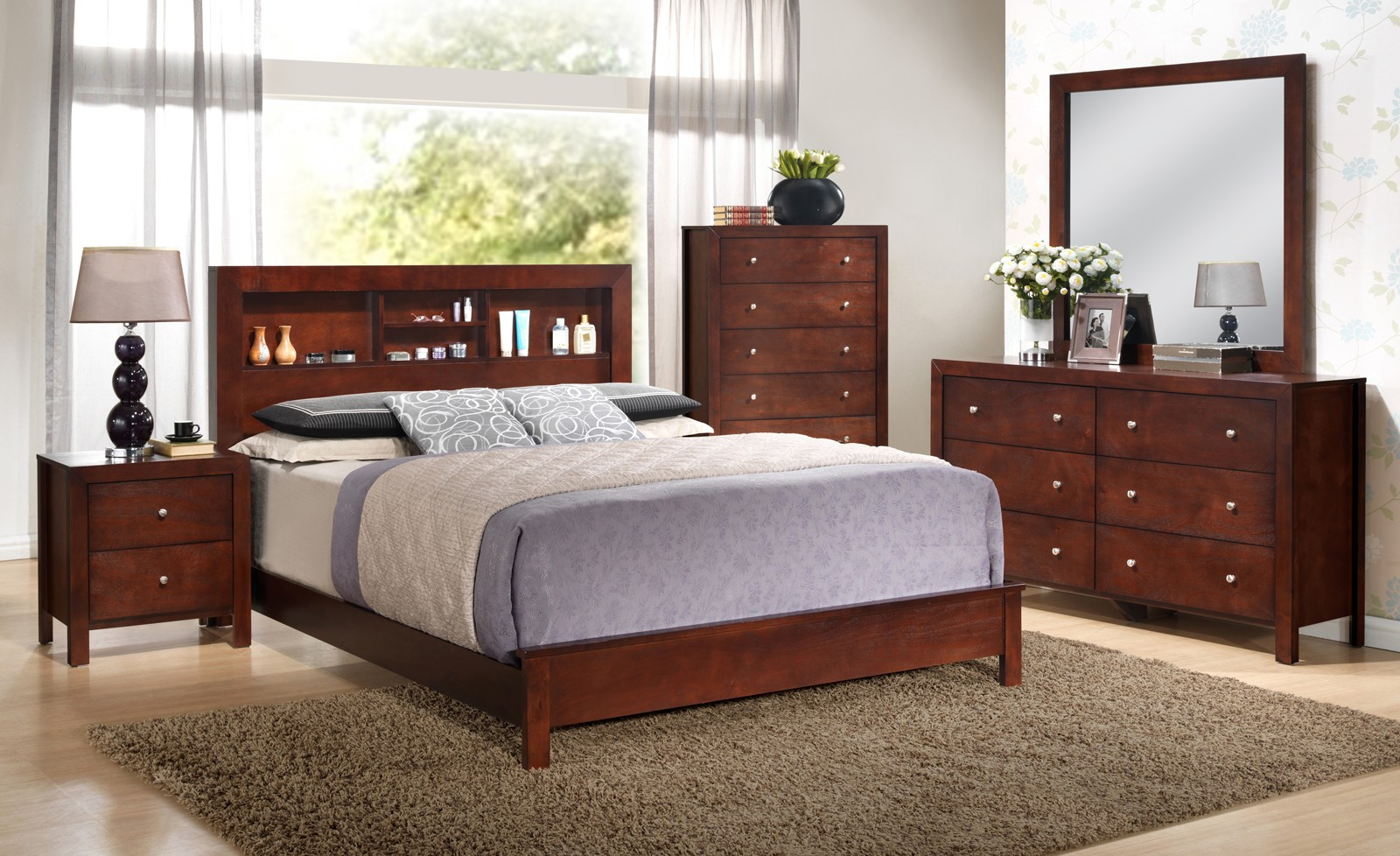 glory furniture g2400 bookcase headboard bedroom set in cherry by glory