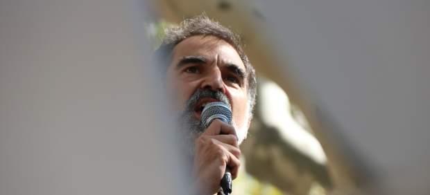 El presidenta de Òmnium Cultural, Jordi Cuixart, en la manifestación ante el TSJC.