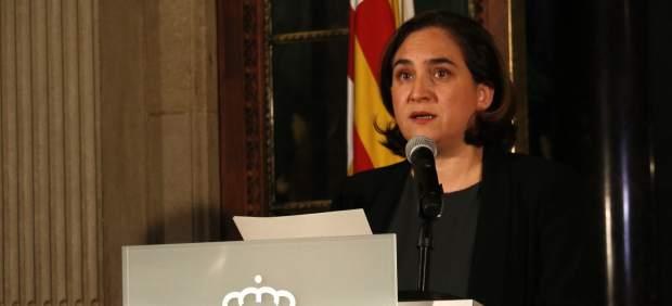 La regidora Ada Colau en una declaración institucional