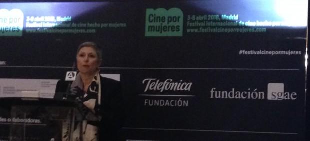Carlota Álvarez en la presentación del festival 'Cine por mujeres'