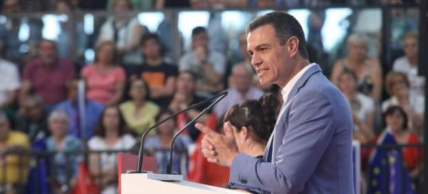 Pedro Sánchez, durante un mitin en la campaña electoral del 26M.