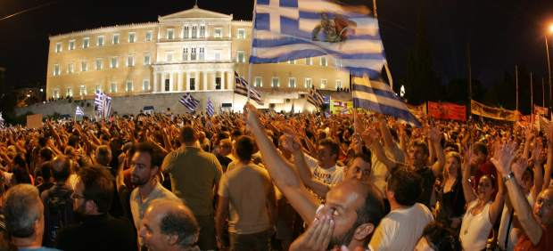 Manifestantes griegos
