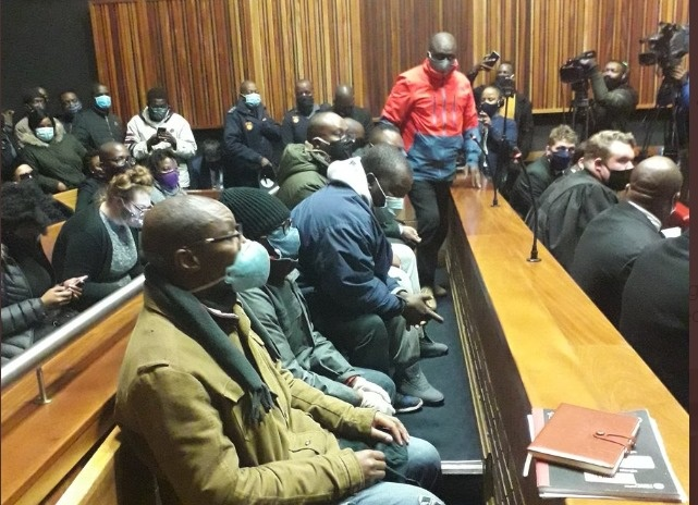 Seven men accused of defrauding VBS Mutual Bank appeared in the Palm Ridge Regional Court on 18 June 2020.