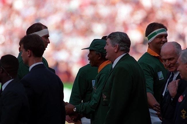 Louis Luyt introduces Nelson Mandela to the Springbok players prior to the 1995 Rugby World Cup final at Ellis Park.