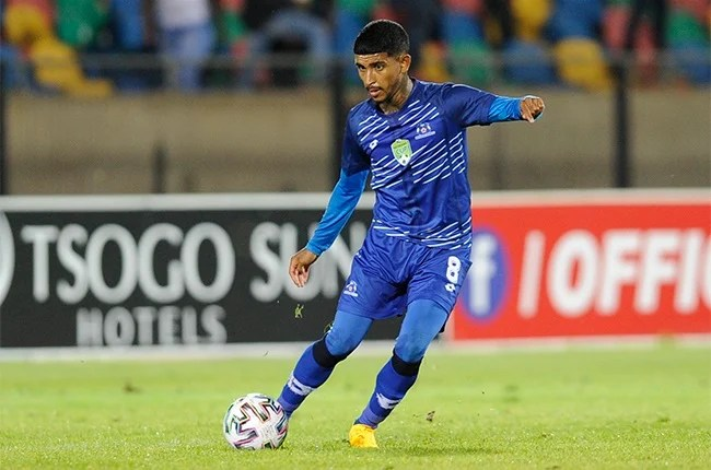 Keagan Buchanan of Maritzburg United during the Nedbank Cup, Last 16 match between Bloemfontein Celtic and Maritzburg United at Dr Molemela Stadium on February 22, 2020 in Bloemfontein, South Africa.